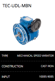 Mechanical speed variator gearbox